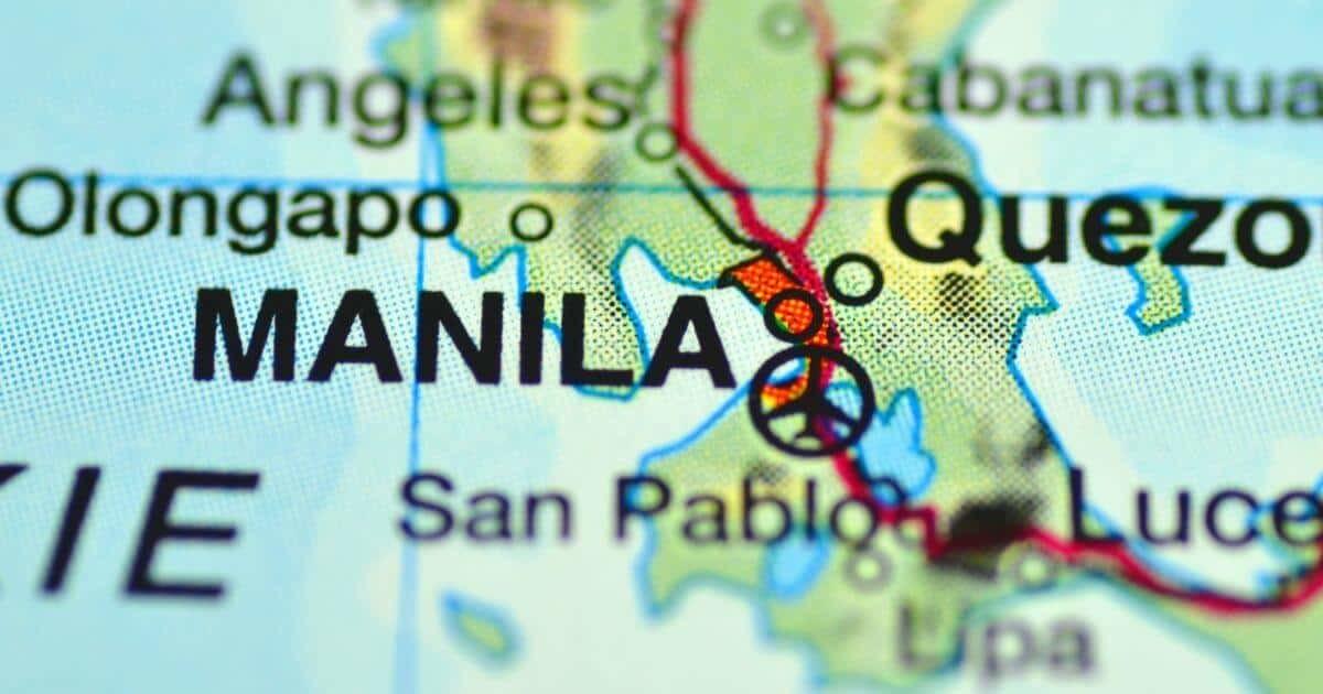 地図上のマニラ表示