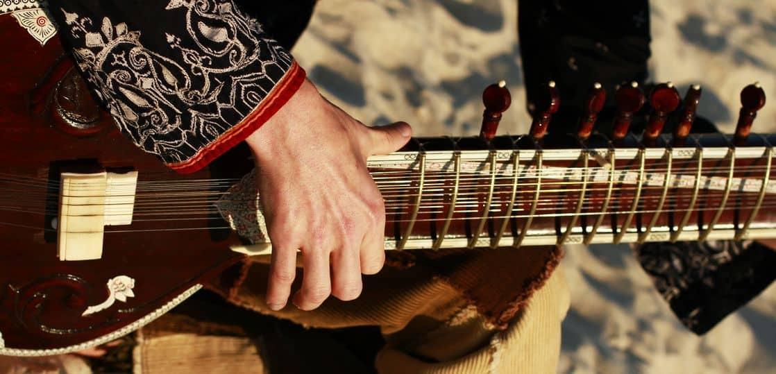 シタールを演奏する奏者の手