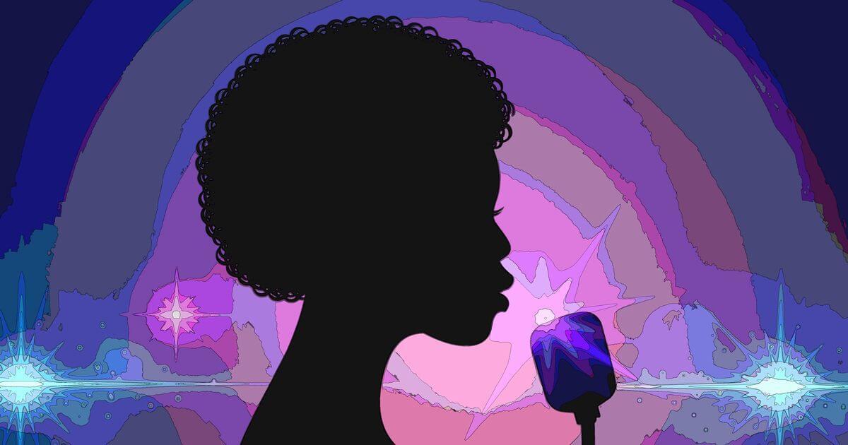 ローリン・ヒルをイメージしたアフロ女性歌手の横顔シルエット